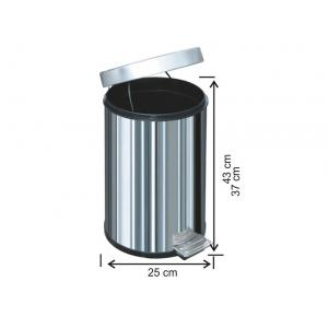 Pedallı Çöp Kovası 16 LT 430 Kalite Arı Metal 1004